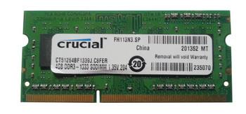 CT51264BF1339J.C8FER Crucial 4GB DDR3 SoDimm Non ECC PC3-10600 1333Mhz 2Rx8 Memory