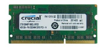 CT51264BF186DJ.8FED Crucial 4GB DDR3 SoDimm Non ECC PC3-14900 1866Mhz 1Rx8 Memory