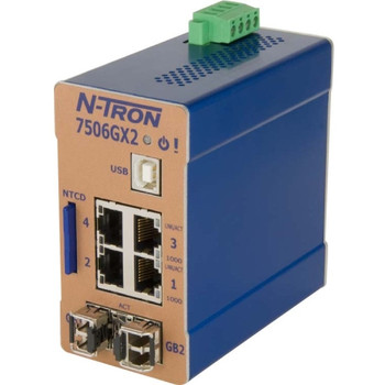 7506GX2 B+B N-Tron Ethernet Switch 4 Network 2 Expansion Slot Manageable Optical Fiber Twisted Pair 2 Layer Supported Rail-mountable (Refurbished)