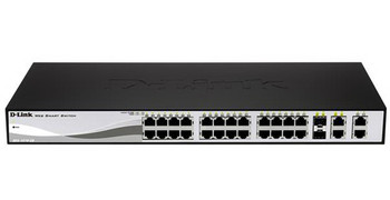DES-1210-28-A1 D-Link Web Smart 24-Ports 10/100 Switch with (2) 10/ 100/ 1000Base-T Ports and 2 Combo SFP Slots (Refurbished)