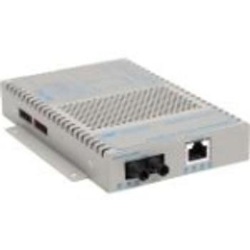 9320-0-11 OmniConverter 10/100 PoE+ Ethernet Fiber Media Converter Switch RJ45 ST Multimode 5km 1 x 10/100BASE-TX 1 x 100BASE-FX US AC Powered