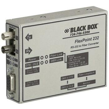 ME660A-MST Black Box FlexPoint RS-232 to Fiber Converter 1 x DB-9 RS-232 1 x ST Duplex External Rack-mountable 2.5 km