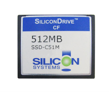 SSD-C51M-3581 SiliconSystems SiliconDrive 512MB ATA/IDE (PATA) CompactFlash (CF) Type I Internal Solid State Drive (SSD)