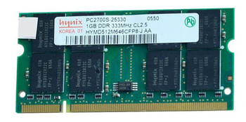 HYMD512M646CFP8-J-AA Hynix 1GB PC2700 DDR-333MHz non-ECC Unbuffered CL2.5 200-Pin SoDimm Memory Module