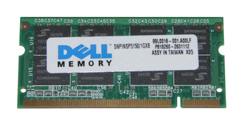SNPINSP5150/1GX8 Dell 1GB PC2700 DDR-333MHz non-ECC Unbuffered CL2.5 200-Pin SoDimm Memory Module