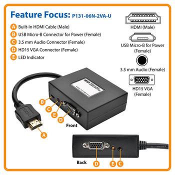 P131-06N-2VA-U Tripp Lite 2-Port HDMI To VGA Splitter Audio/Video Adapter