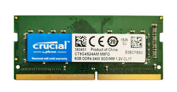 Crucial 8GB PC4-19200 DDR4-2400MHz non-ECC Unbuffered CL17 260-Pin SoDimm 1.2V Single Rank Memory Module Mfr P/N CT8G4S24AM.M8FD