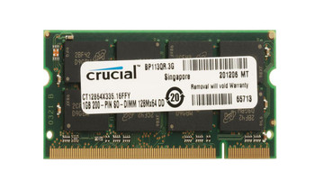 Crucial 1GB PC2700 DDR-333MHz non-ECC Unbuffered CL2.5 200-Pin SoDimm 2.5V Memory Module Mfr P/N CT12864X333.16FFY