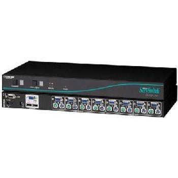 KV6508SA Black Box ServSwitch Uno USB KVM Switch 8 x 1 8 x HD-15 Video 8 x mini-DIN (PS/2) Mouse 8 x mini-DIN (PS/2) Keyboard 1U Rack-mountable (Refurbished)