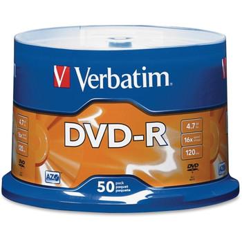 95101 Verbatim DVD Recordable Media DVD-R 16x 4.70GB 50 Pack Spindle 2 Hour Maximum Recording Time