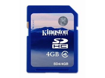KINGSD4/4GB Kingston 4GB Class 4 SDHC Flash Memory Card