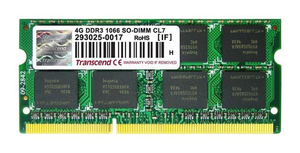 TS512MSK64V1N Transcend 4GB DDR3 SoDimm Non ECC PC3-8500 1066Mhz 2Rx8 Memory