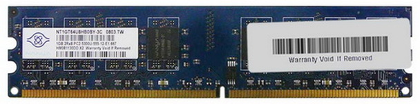 NT1GT64U8HB0BY-3C Nanya 1GB DDR2 Non ECC PC2-5300 667Mhz Memory