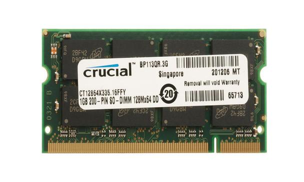 Crucial 1GB PC2700 DDR-333MHz non-ECC Unbuffered CL2.5 200-Pin SoDimm 2.5V Memory Module Mfr P/N CT12864X333.16FFY