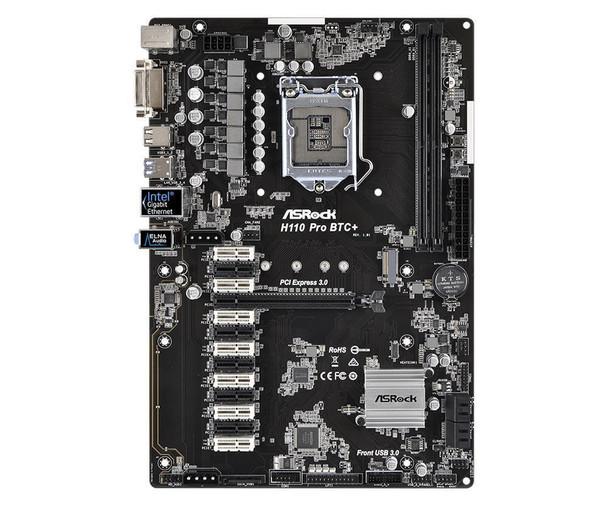 H110 Pro BTC+ ASRock Socket LGA 1151 Intel H110 Chipset 7th/6th Generation Core i7 / i5 / i3 / Pentium / Celeron Processors Support DDR4 2x DIMM 4x SATA3 6.0Gb/s ATX Motherboard (Refurbished)