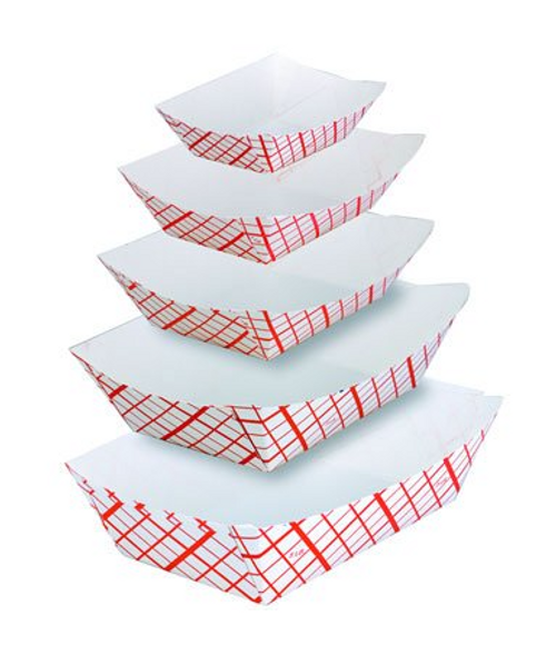 1lb Red & White Food Boats, 1,000 per case