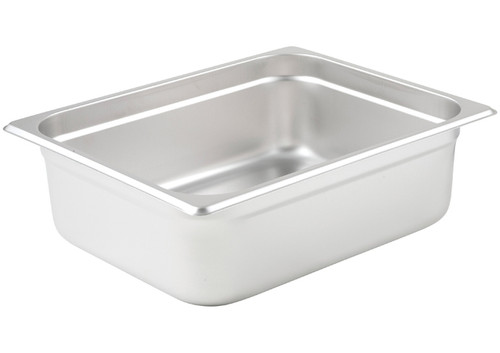 "Steam Table Pan, 1/2 size, 10-3/8"" x 12-3/4"" x 4"" deep, 25 gauge standard weight, anti-jamming, 18/8 stainless steel, NSF (1 Each)"