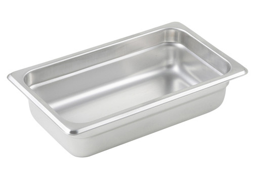 "Steam Table Pan, 1/4 size, 10-5/6"" x 6-5/16"" x 2-1/2"" deep, 25 gauge standard weight, anti-jamming, 18/8 stainless steel, NSF (1 each)"