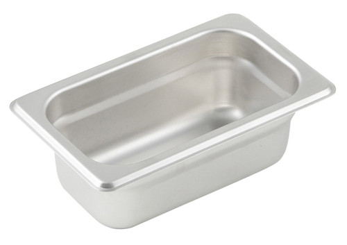 "Steam Table Pan, 1/9 size, 6-3/4"" x 4-1/4"" x 2-1/2"" deep, 25 gauge standard weight, anti-jamming, 18/8 stainless steel, NSF (1 each)"
