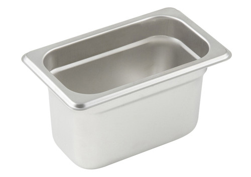 "Steam Table Pan, 1/9 size, 6-3/4"" x 4-1/4"" x 4"" deep, 25 gauge standard weight, anti-jamming, 18/8 stainless steel, NSF (1 each)"