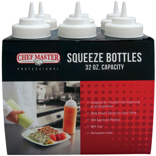 32oz Wide Mouth Squeeze Bottle (6/pk)
