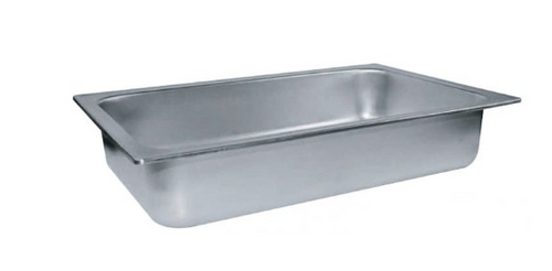 "Full size 4"" deep stainless steel dripless water pan"