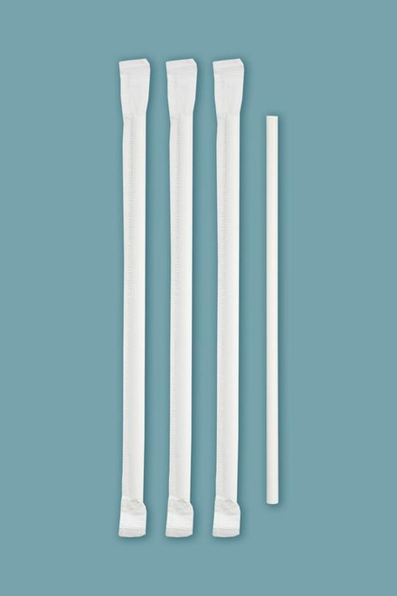 "7-3/4"" White Wrapper Paper Straw - Compostable"