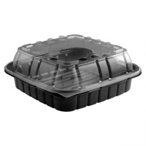 9x9/32oz CRISP FOOD TECHNOLOGIES® COMBO BLACK 1-COMP SQUARE CONTAINER AND CLEAR ANTI-FOG LID (180/CS)