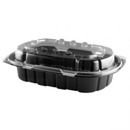 6x9/24oz CRISP FOOD TECHNOLOGIES® COMBO BLACK 1-COMP CONTAINER AND CLEAR ANTI-FOG LID (126/CS)