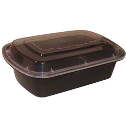 TRiPAK 10x7x2.2/56oz Microwaveable Rectangle Takeout Container and Lid Combo, Black Base/Clear Lid, 100 ct