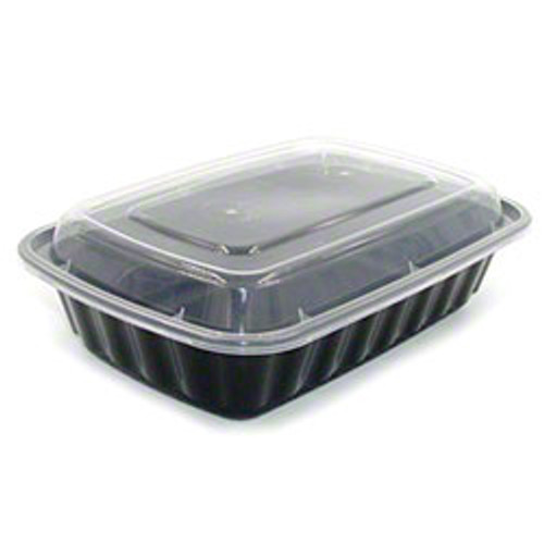 TRiPAK 8x6/38oz Microwaveable Rectangle Takeout Container and Lid Combo, Black Base/Clear Lid, 150 ct