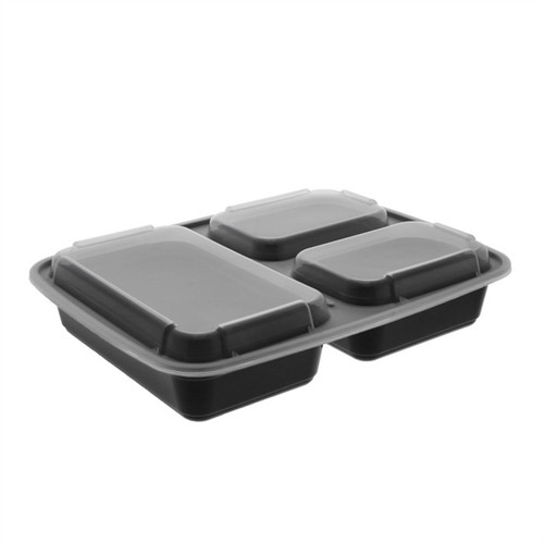 32 oz. 3-Compartment Microwaveable Rectangle Takeout Container and Lid Combo, Black Base/Clear Lid, 150 ct.