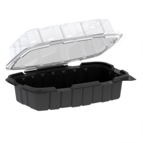 "CRISP FOOD TECHNOLOGIES® 9"" X 6"" BLACK BASE/CLEAR LID HINGED CONTAINER (100/cs)"