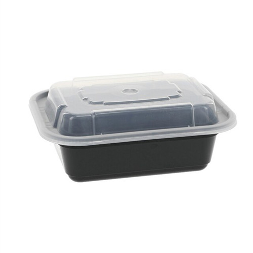 TRiPAK 7x5/24oz Microwaveable Rectangle Takeout Container and Lid Combo, Black Base/Clear Lid, 150 ct