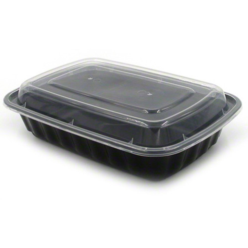 TRiPAK 8x6/28oz Microwaveable Rectangle Takeout Container and Lid Combo, Black Base/Clear Lid, 150 ct