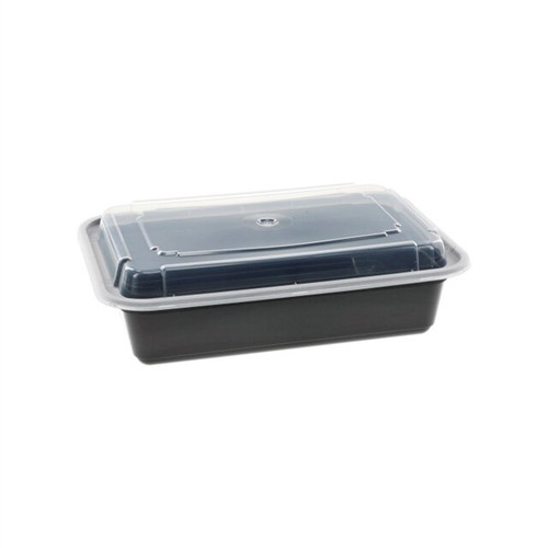 VERSAtainer® 6x8.5/38oz Black Microwaveable Rectangle Takeout Container and Lid Combo, Black Base/Clear Lid, 150 ct