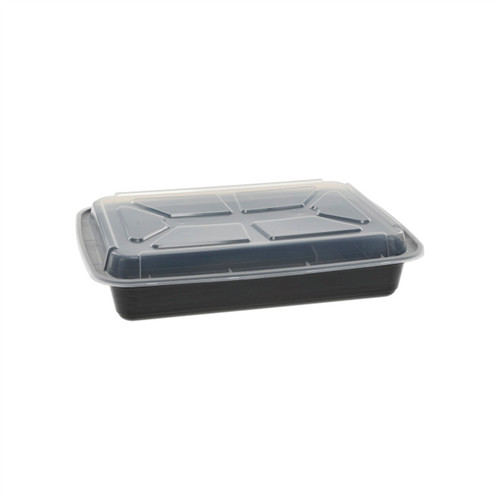 VERSAtainer® 8.5x11.5x2.5/58oz Microwaveable Rectangle Takeout Container and Lid Combo, Black Base/Clear Lid, 150 ct