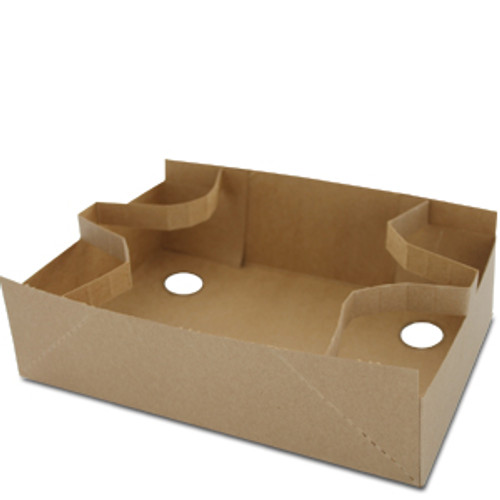 "10"" x 6.75"" x 2.5"" Recycled Kraft Board 4-cup Push Up Holder"