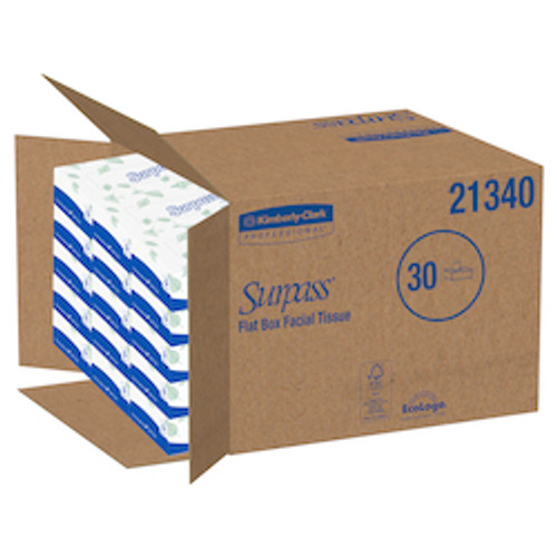 Surpass Facial Tissue Flat Box , 2-Ply, White, Unscented (30 Box/100 Sheet/Box)