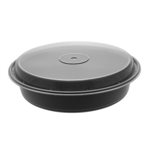 """VERSAtainer® 9""""/48oz Black Microwaveable Round Takeout Container and Lid Combo, Black Base/Clear Lid, 150 ct"""