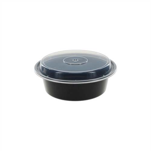 "VERSAtainer® 7""/32oz Black Microwaveable Round Takeout Container and Lid Combo, Black Base/Clear Lid, 150 ct."