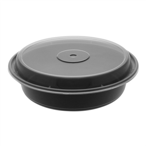 """VERSAtainer® 8""""/35oz Black Microwaveable Round Takeout Container and Lid Combo, Black Base/Clear Lid, 150 ct."""
