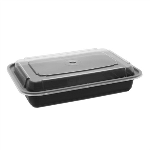 28 oz./6x8.5x2.12  VERSAtainer Microwaveable Rectangle Takeout Container and Lid Combo, Black Base/Clear Lid, 150 ct.