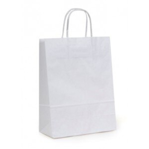 10x5x13 White Handled Shopping Bag (250/BX)