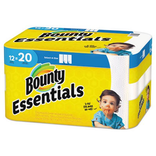 Bounty Essentials Select-A-Size Paper Towel, 2-Ply, White, 104 Sheets/Roll, 12 Rolls/Pack
