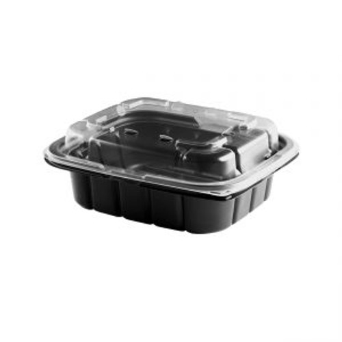 7x6/16oz CRISP FOOD TECHNOLOGIES® COMBO BLACK 1-COMP CONTAINER AND CLEAR ANTI-FOG LID (200/cs)