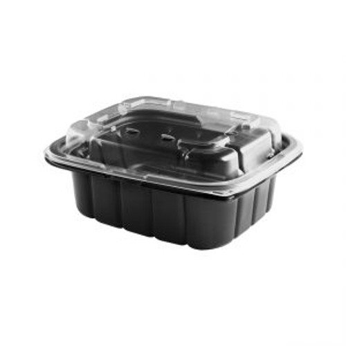 7x6/20oz CRISP FOOD TECHNOLOGIES® COMBO BLACK 1-COMP CONTAINER AND CLEAR ANTI-FOG LID (200/cs)