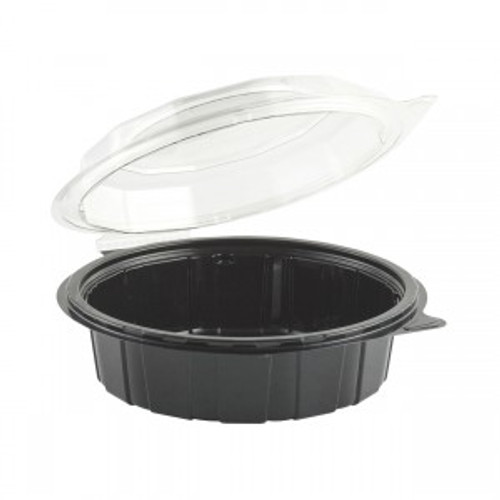 26oz GOURMET CLASSICS® 7.5″ CLEAR DOME/BLACK BASE HINGED DEEP CLAMSHELL (100/cs)