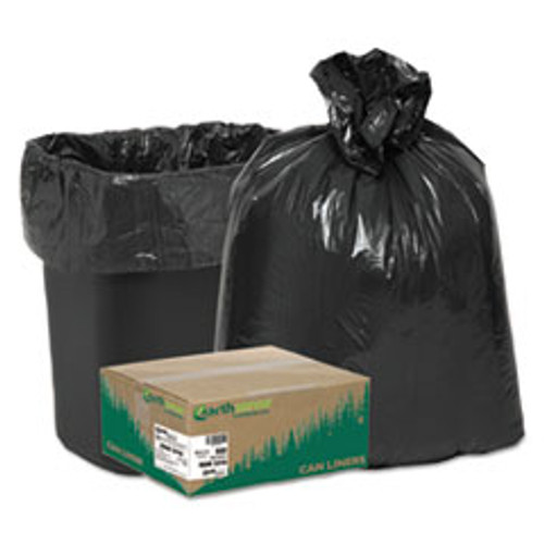 "16 gal Earthsense Recycled Waste Can Liner, 0.65 Mil, Flat Seal, 31"" x 24"", in Individually Folded Dispensing Bag, Black (Pack of 500)"