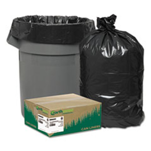 """33 gal Earthsense Recycled Waste Can Liner, 1.25 Mil, Flat Seal, 33"""" x 39"""", in Individually Folded Dispensing Bag, Black (100/cs)"""